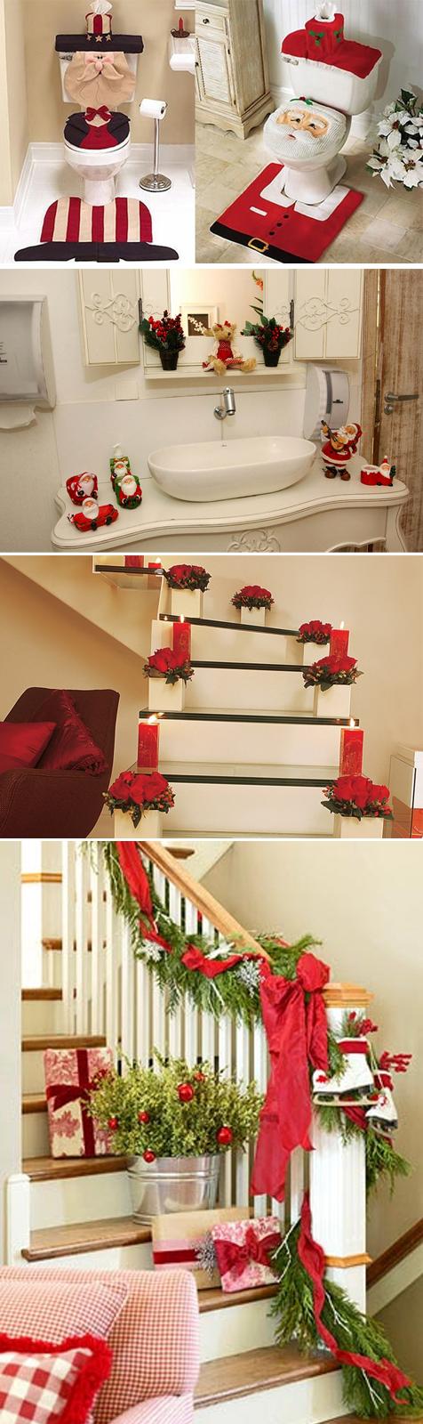 decoração de banheiros e escada para o natal