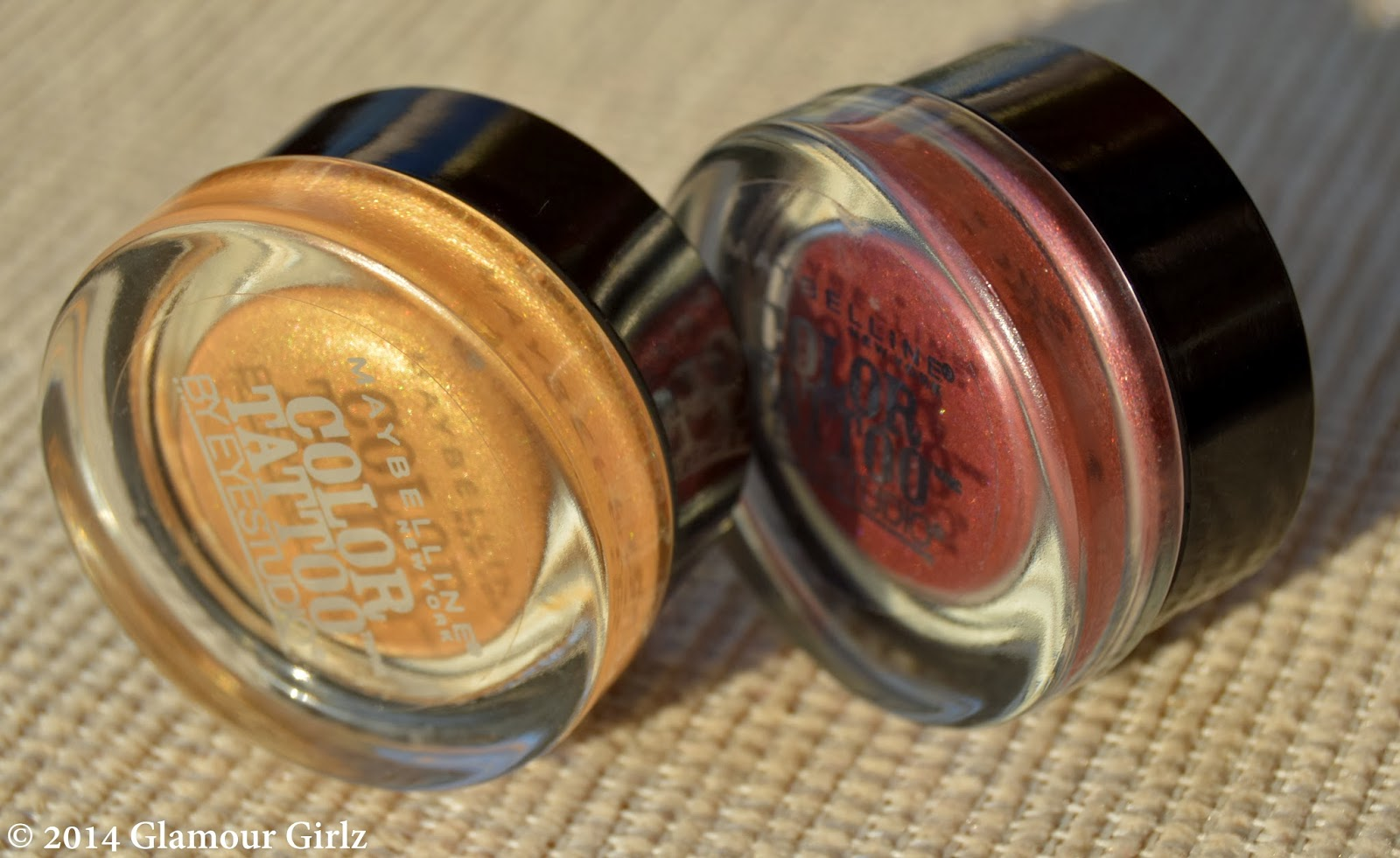 Color Tattoo by Maybelline in shades 45 Bold Gold and 30 Pomegranate Punk.