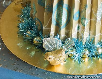 decoracion mesa navidad dorado y azul detalle centro mesa