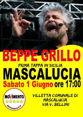 BEPPE GRILLO A MASCALUCIA 1 giugno 2013 h.17 Villa Comunale