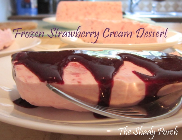 Frozen Strawberry Cream Dessert with Blueberry Sauce #dessert #strawberries #blueberries #creamdessert #frozencream