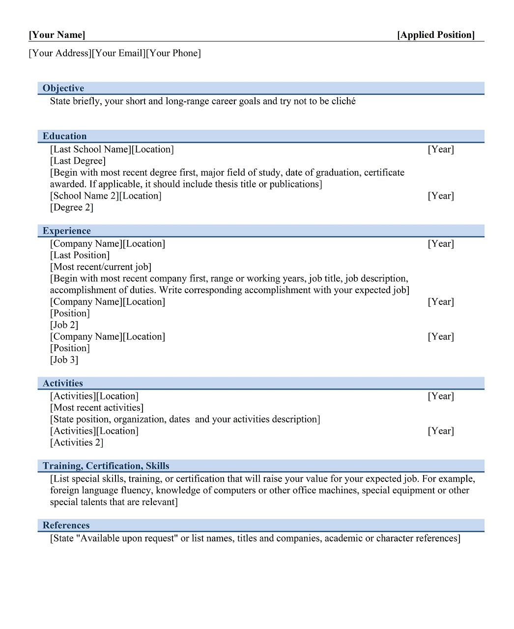 name of resume examples