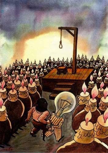 Una caricatura de Medi Belortaja