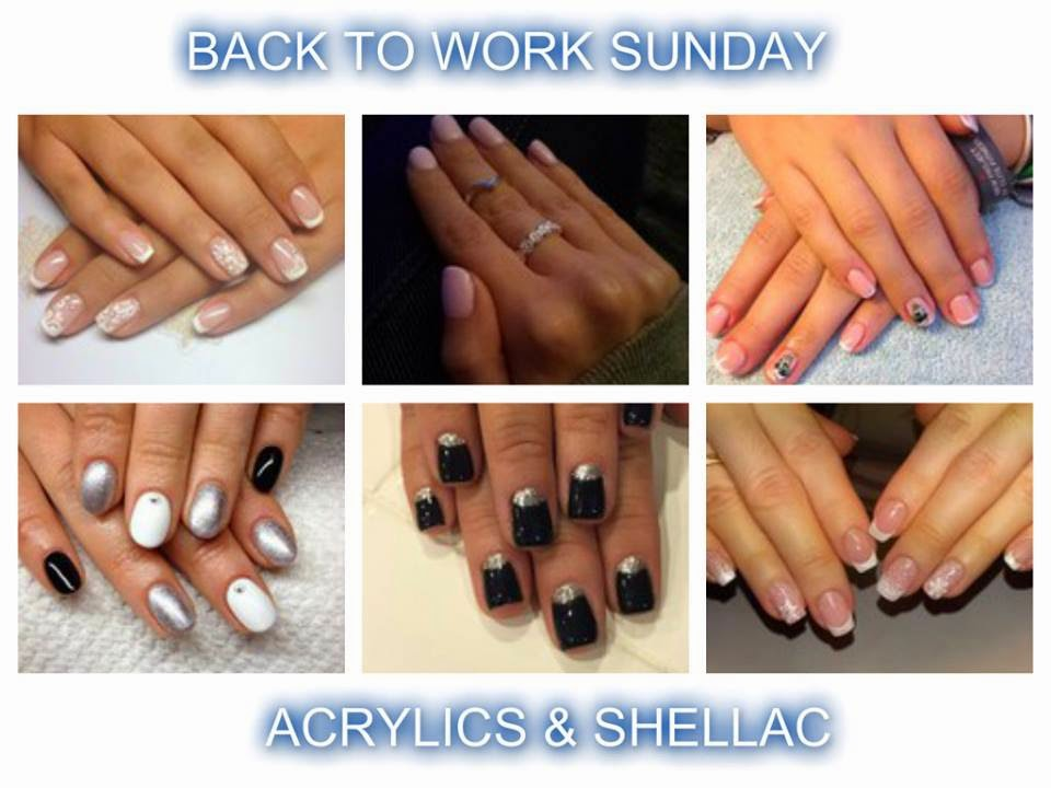 Shellac over acrylic overlays; natural nail Shellac manicure's with a couple of French manicure's chucked in for good measure French white or colored acrylics and Shellac manicure's