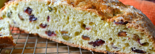 Orange Scented Quick Bread with Cranberries, Pistachios, and Cinnamon Honey Butter