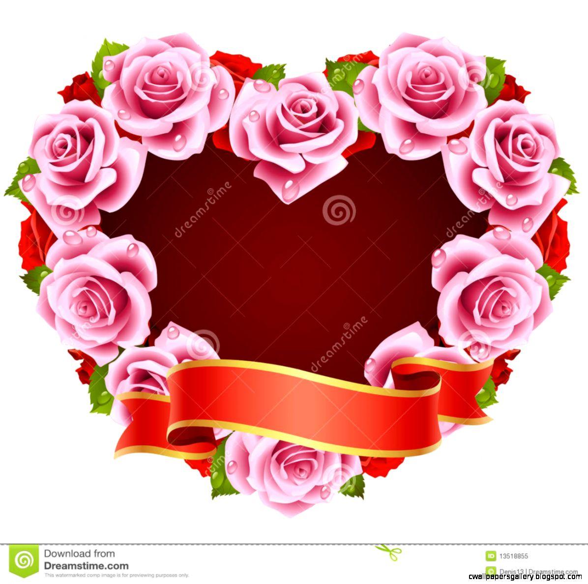Heart Pink Rose Frame Stock Image   Image 36118451