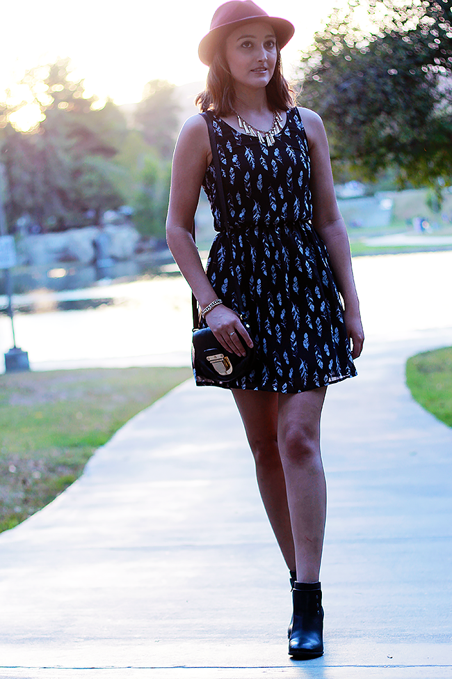 Dress and booties for fall