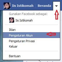 klik tanda panah di samping beranda facebook