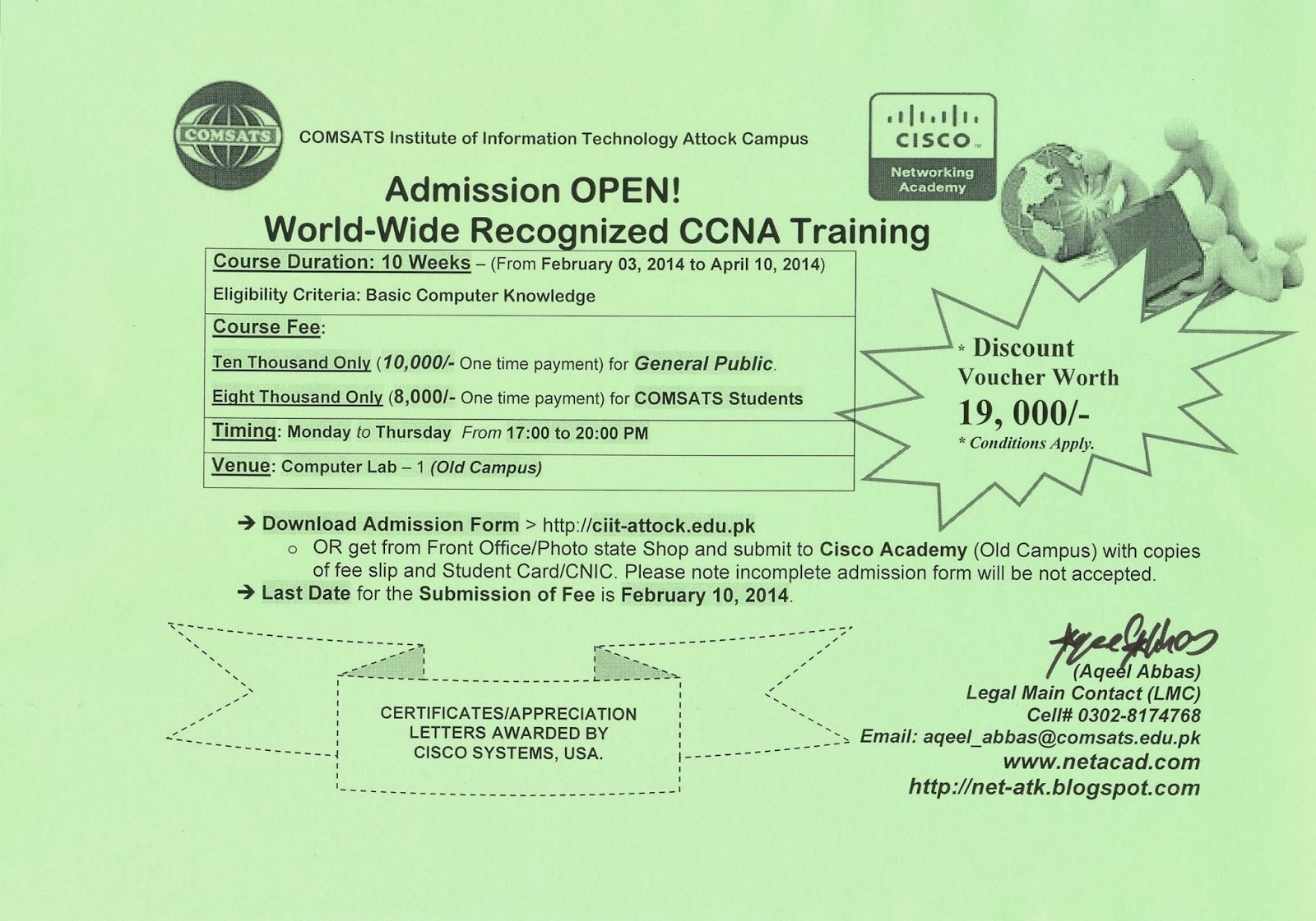 Cisco Networking Academy Ciit Attock Admission Is Open For Ccna