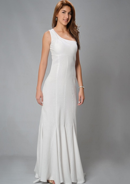 One Shoulder Linen Wedding Dress