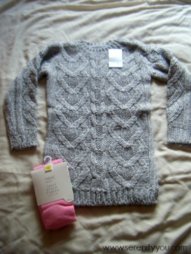grey cable knit jumper dress and pink tights from NEXT