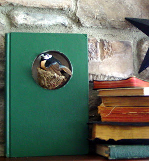 green book with a bird nesting in it