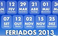 feriados e pontos facultativos em 2013