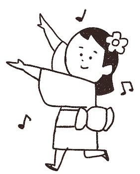 盆踊りのイラスト 線画
