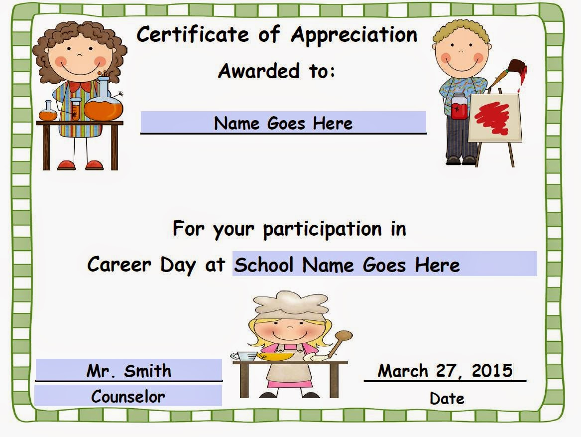 The traveling educator career day certificates career day certificates yadclub Image collections