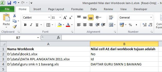 Mengambil Nilai dari Workbook Lain Dengan VBA Excel