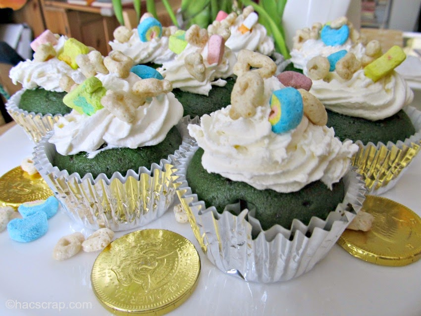 Festive Green Velvet Cupcakes with Lucky Charms, Perfect for St. Patrick's Day