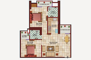 Apex Tower :: Floor Plans,2 BHK 2 Bedrooms, 2 Toilets, Kitchen, Drawing, Dining, 3 Balconies Super Area - 1050 Sq. Ft.