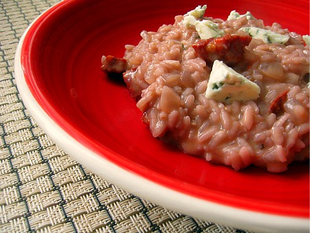 Red Wine, Chorizo and Blue Cheese Risotto
