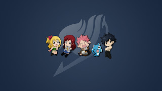 Fairy Tail Guild Logo Chibi Lucy Heartfilia Erza Scarlet Natsu Dragneel Happy Gray Fullbuster Anime HD Wallpaper Desktop Background