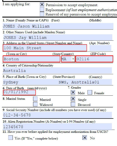 Dreamers Are Us Completed sample Form I765 – Sample Employment Authorization Form