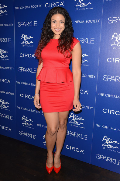 Jordin Sparks in a red hot Alice + Olivia 'Tracey' peplum dress from the Pre-Fall 2012 collection