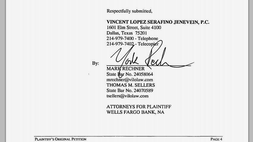 Sample signature and lawfirm address block: Mark Rechner