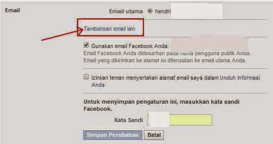mengganti email facebook