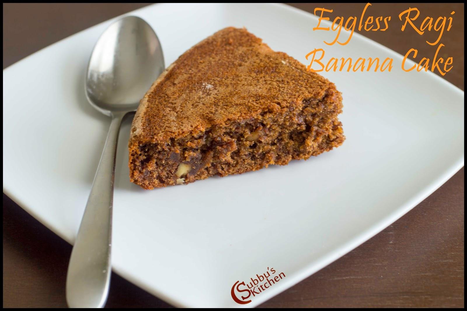 Pressure Cooker Eggless Ragi Banana Cake Recipe
