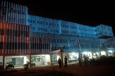 Soochna Bhavan ( Information and Public Relation Department building) was decorated in blue by thousands of series bulbs to celebrate Bihar Diwas in Patna