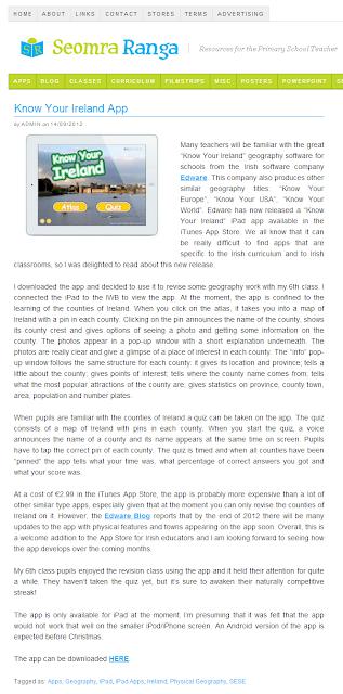 Know Your Ireland for iPad seomraranga.com review