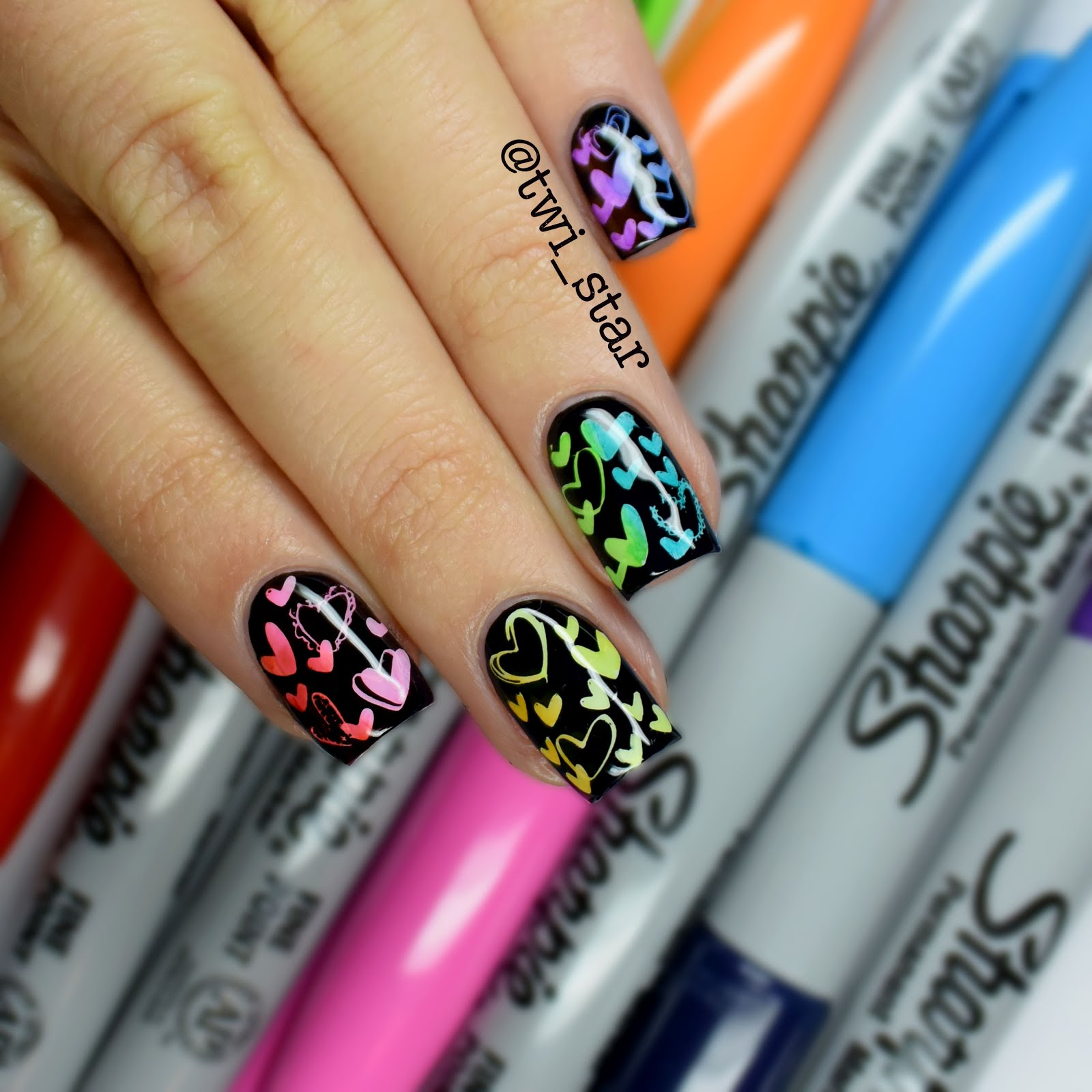 Twi star nail art blog black sharpie heart stamping prinsesfo Gallery