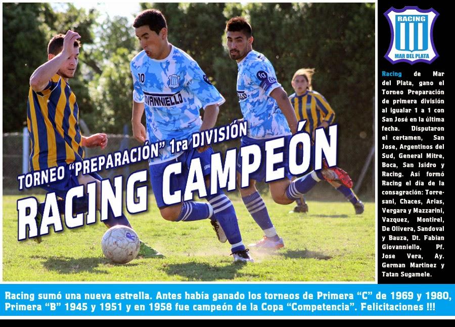 RACING CAMPEÓN PRIMERA DIVISIÓN TORNEO PREPARACIÓN 2014