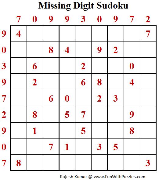 Missing Digit Sudoku (Daily Sudoku League #146)