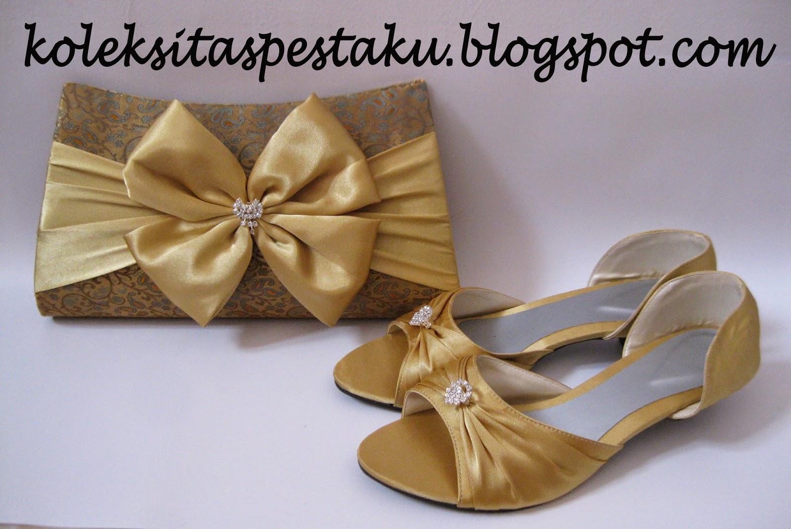 Sepatu pesta terbaru dan tas pesta sari india gold