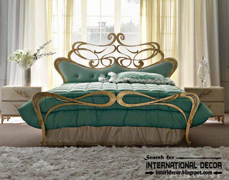 luxury Italian wrought iron beds and headboards 2015, golden wrought iron bed
