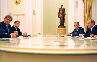 US Secretary of State Kerry with Russian President Putin and Foreign Minister Lavrov