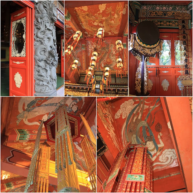 Dragon sculpture and the interior decoration of Chinese Temple at Ngong Ping Village in Hong Kong