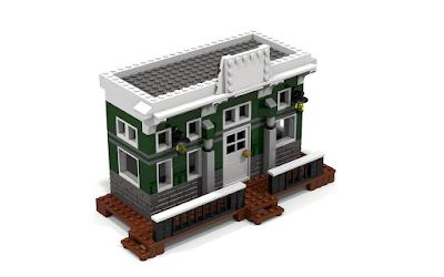 Representación ideal renderizada con POV Ray v3.7 del Banco (Bank) de la localidad