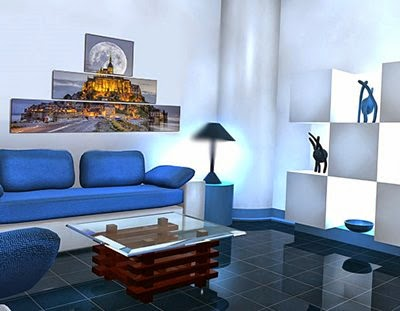 Living room wall art ideas 20 posters and paintings for Hi tech living room designs