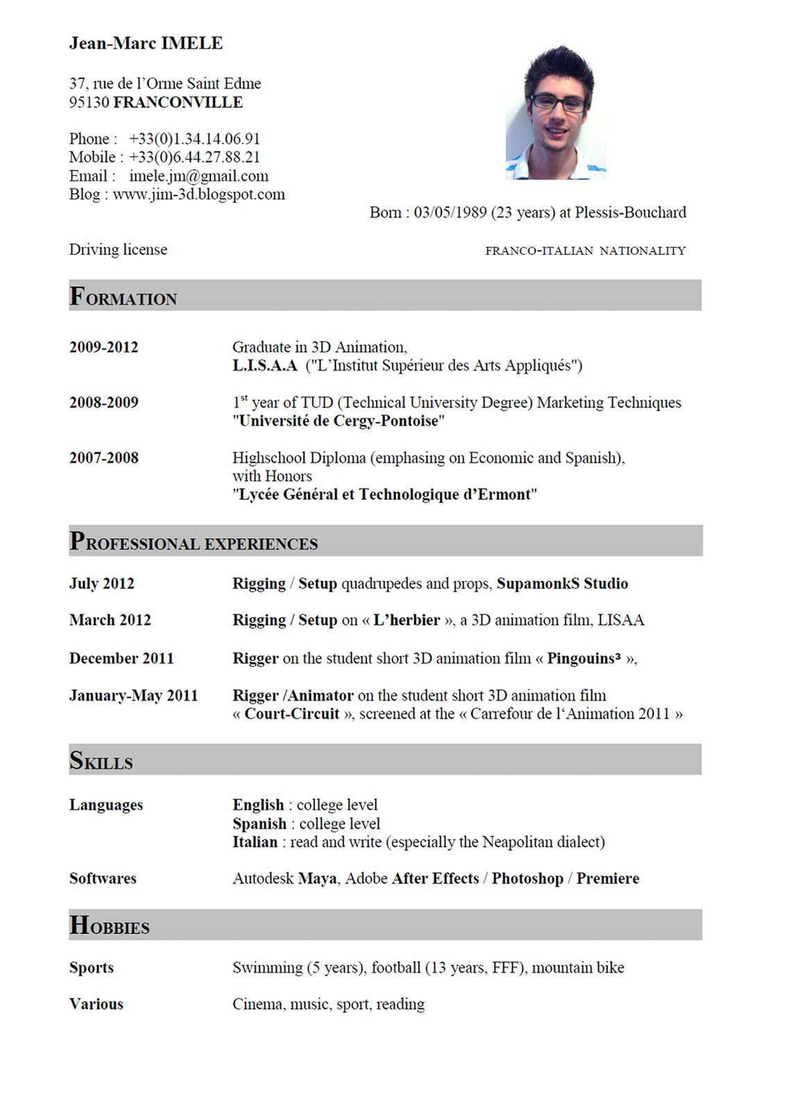 English Cv Sample Word English Cv Format Sample