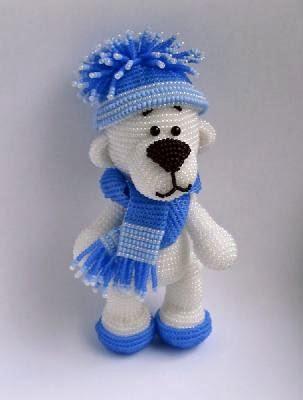 МК: Снежный медвежонок из бисера