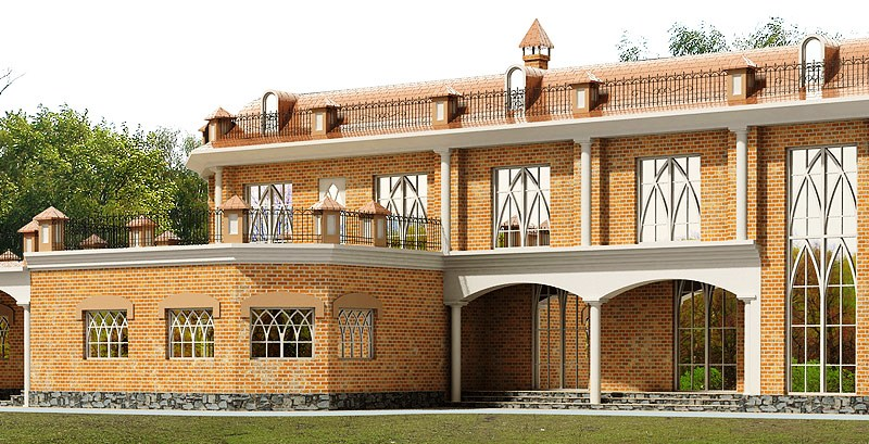 3d front 3d design pictures model house design for House front elevation models