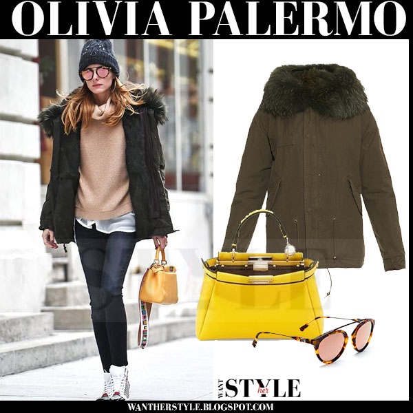 Olivia Palermo in khaki green canvas fur trimmed mr mrs italy parka with yellow bag fendi peekaboo what she wore winter streetstyle