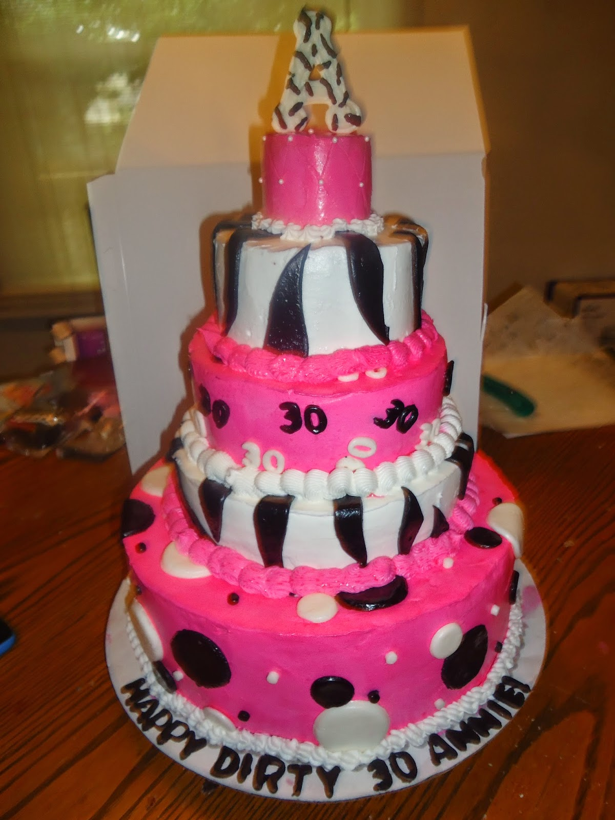 Five Tiered 30th Birthday Cake 3 Tier Is White 5 Chocolate 7 A Strawberry Jello Poke 9 Yellow And 12 Marble Topped With