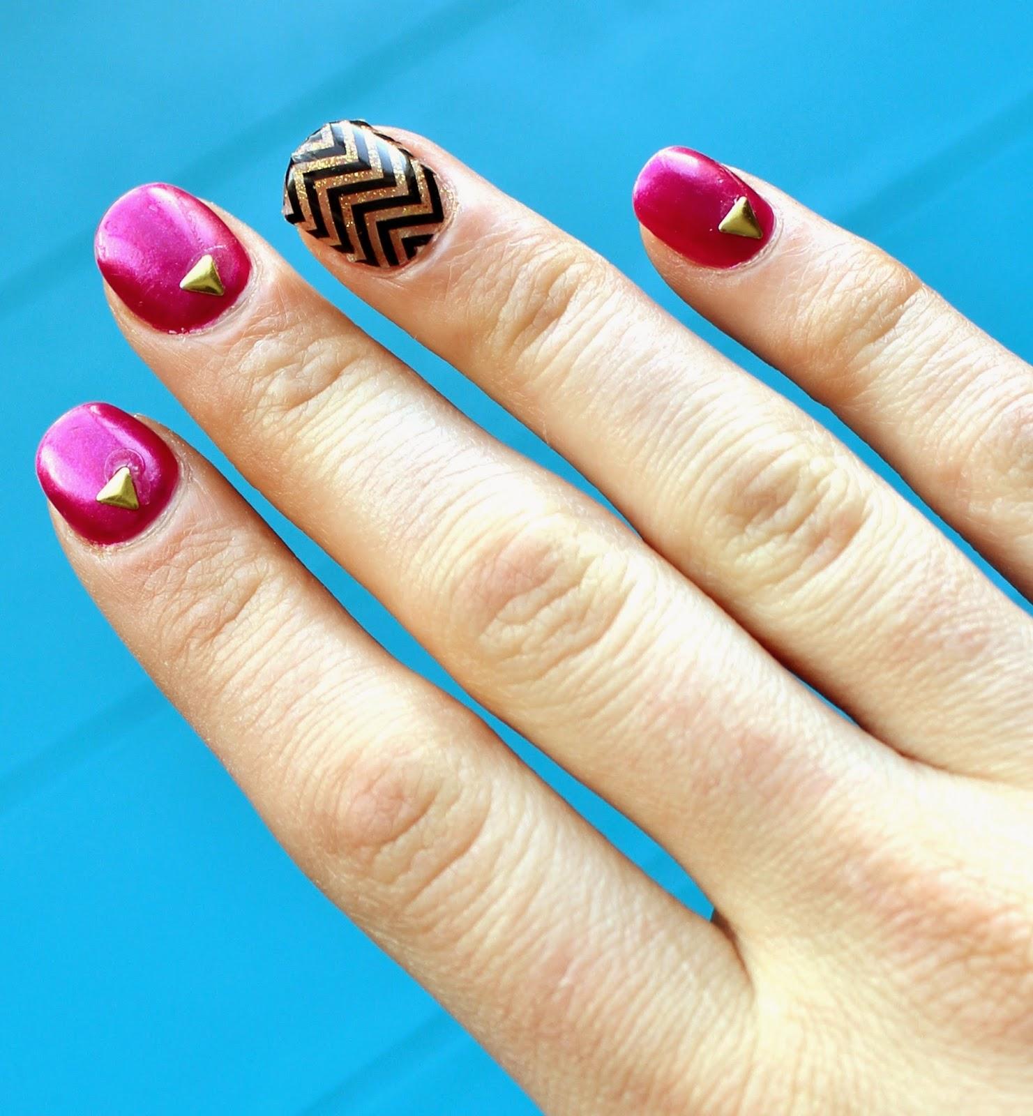 love, elizabethany: diy chevron and jeweled nails