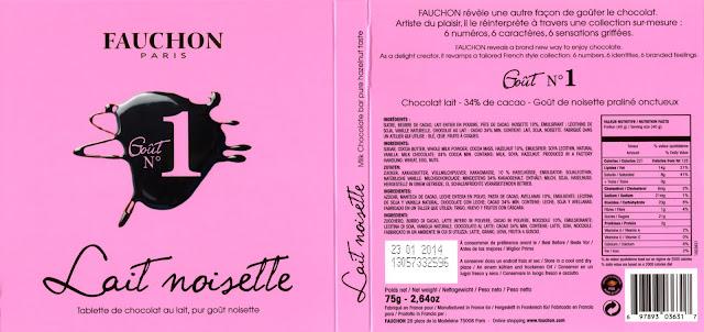 tablette de chocolat lait dégustation fauchon goût n° 1 lait noisette