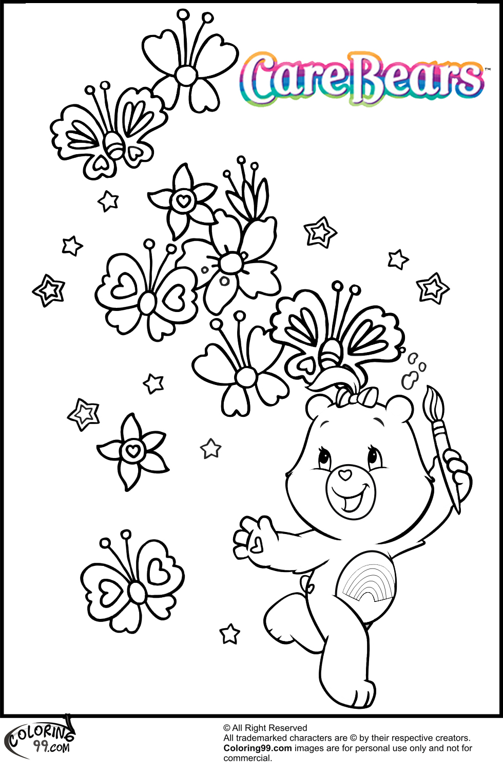 care bear coloring pages - Thinking Of You Coloring Pages