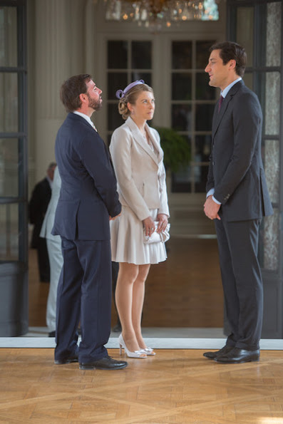 King Philippe and Queen Mathilde of Belgium welcome Hereditary Grand Duke Guillaume, Hereditary Grand Duchess Stephanie, Furst Nikolaus