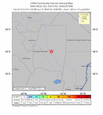 Epicentro sismo 6,1 grados Santiago del Estero, Argentina, 22 de Febrero de 2013